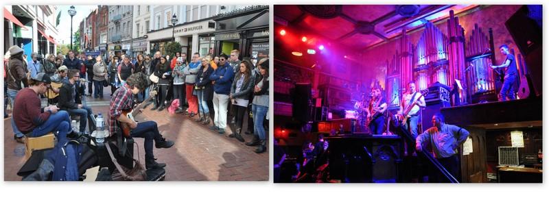 Un groupe qui joue dans la rue à Dublin, et un autre dans un pub de Galway