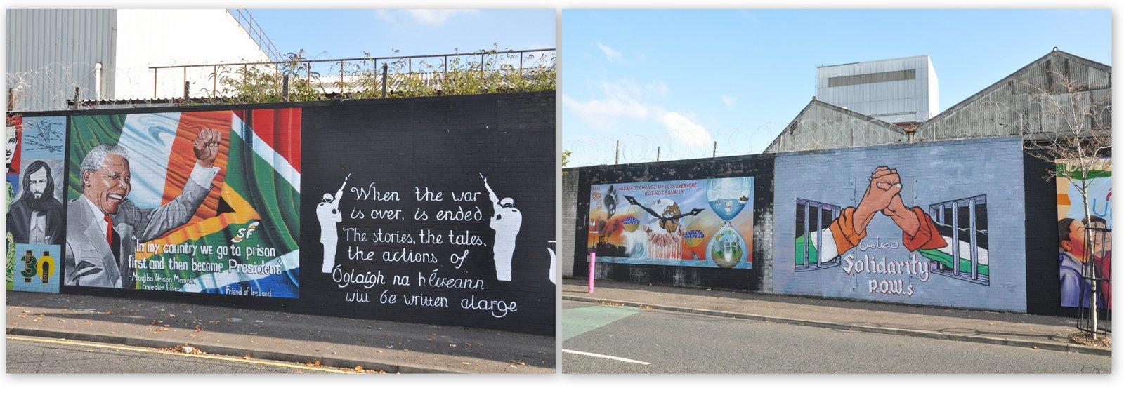 Murals à Belfast en l'honneur de Nelson Mandela, et en solidarité avec les Palestiniens