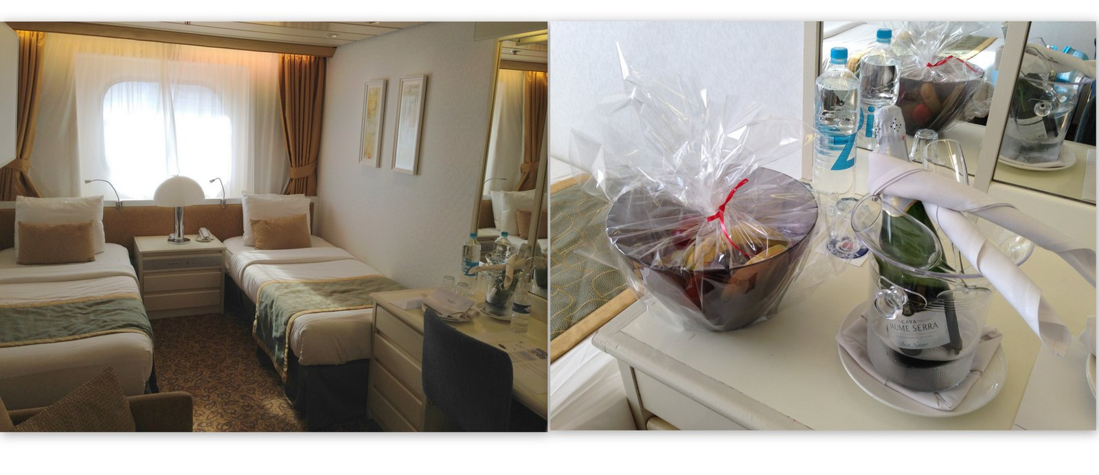 Ma cabine à bord de l'Horizon, avec champagne et corbeille de fruits pour l'accueil!