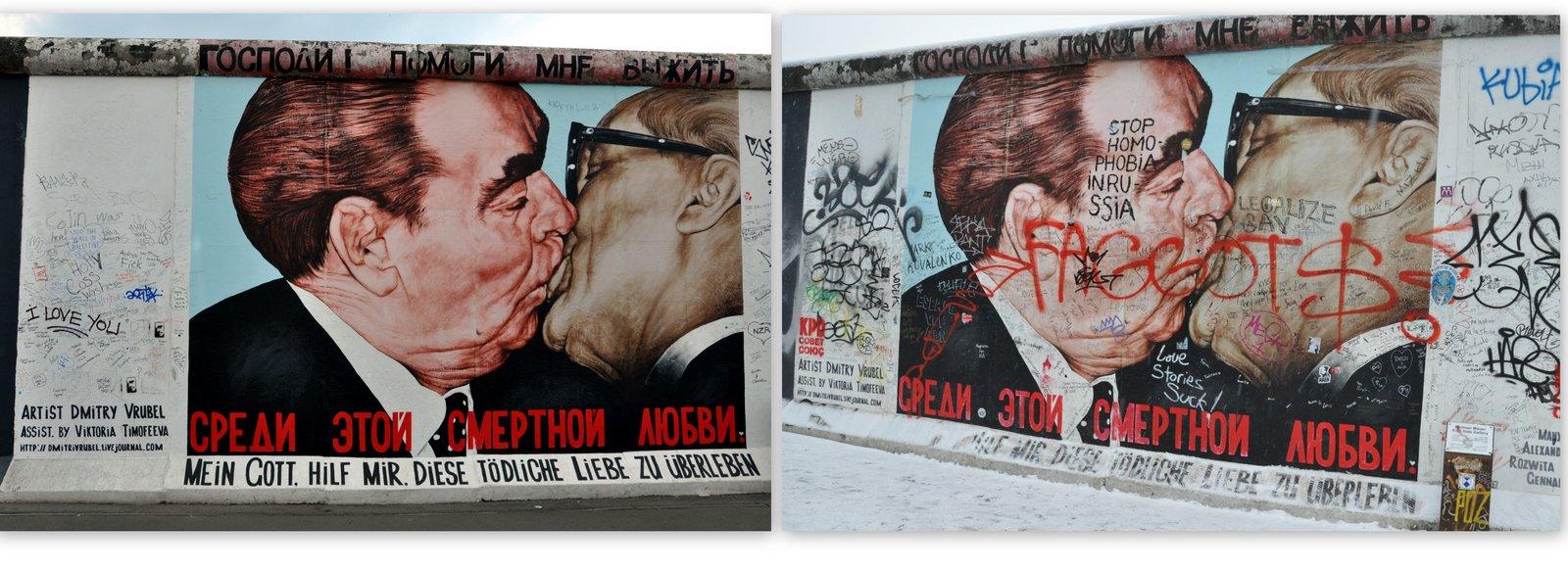 De 2010 à 2014... Le Baiser de l'amitié sur la East Side Gallery à Berlin
