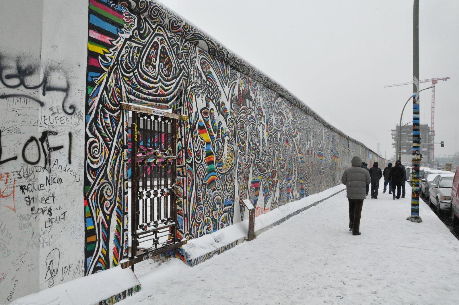 L'East Side Gallery à Berlin sous la neige en 2014