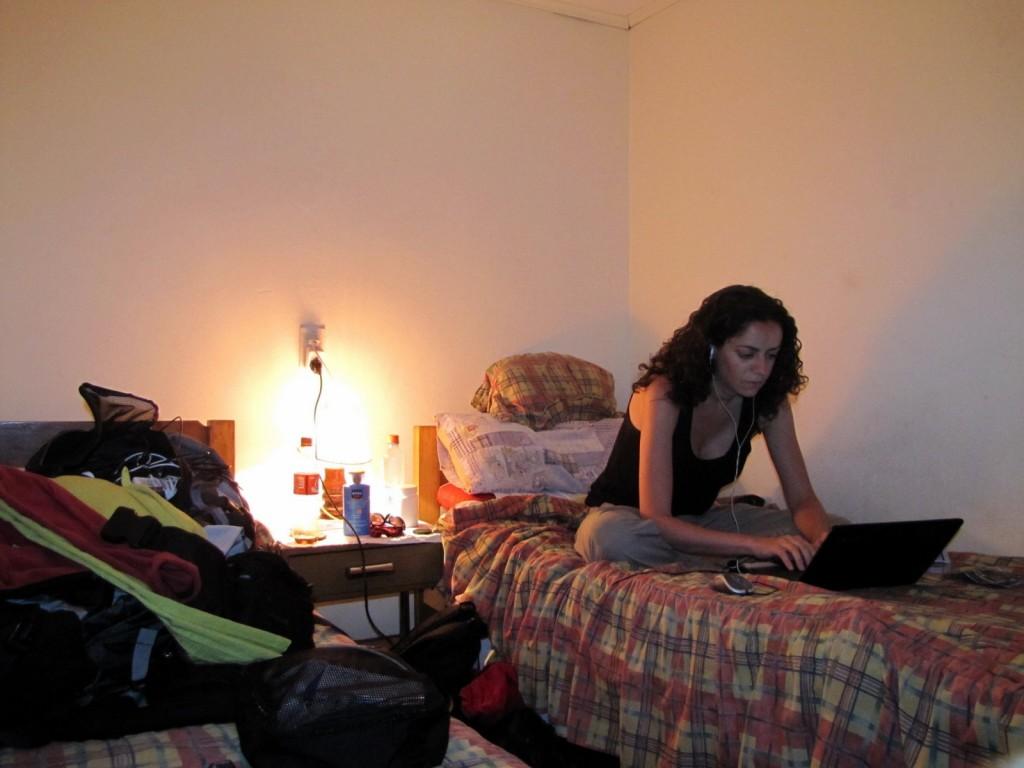 Soirée de travail sur mon blog dans ma chambre d'hôtel, quelque part au Chili...