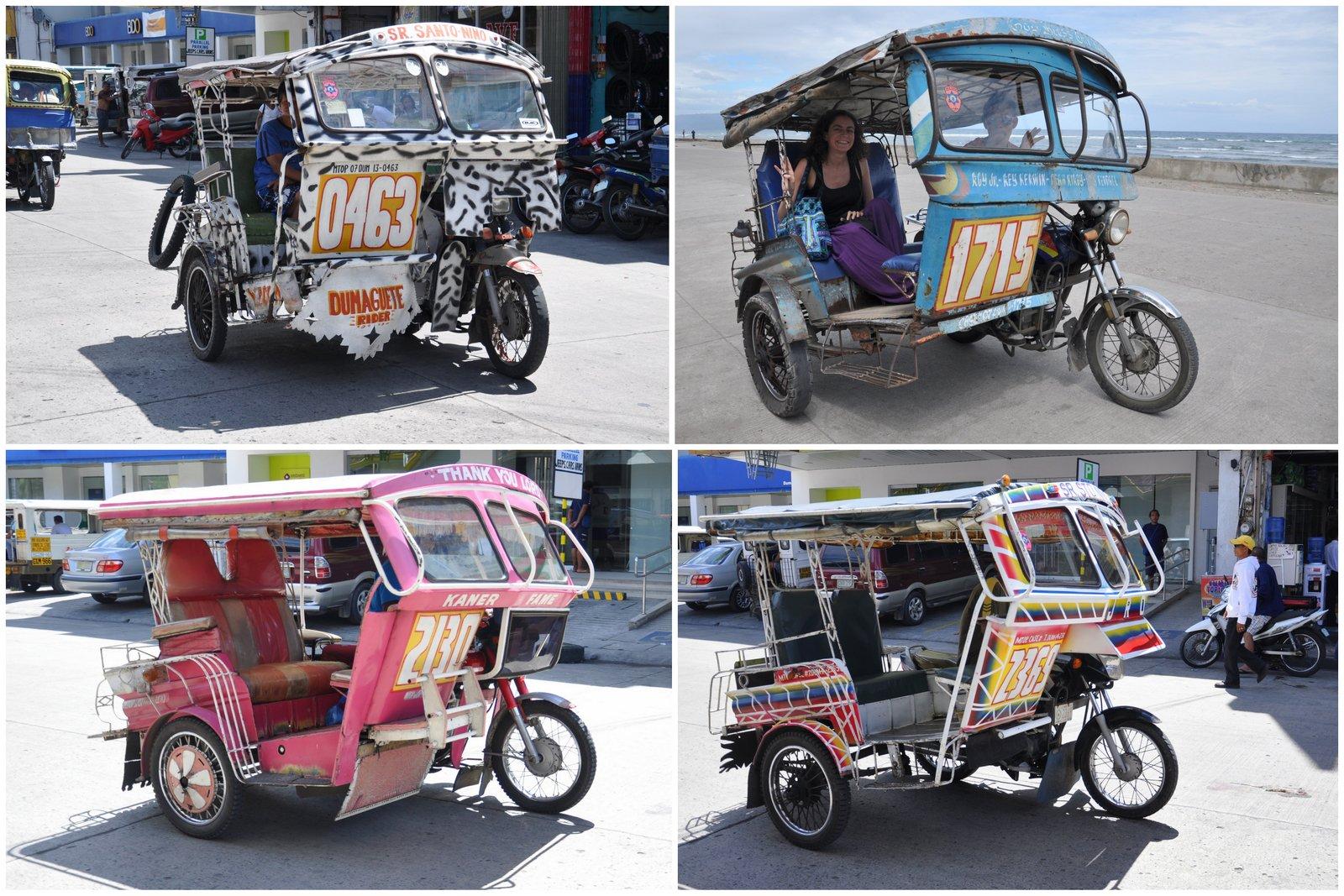 Différents modèles de pedicabs à Dumaguete, dans les Visayas