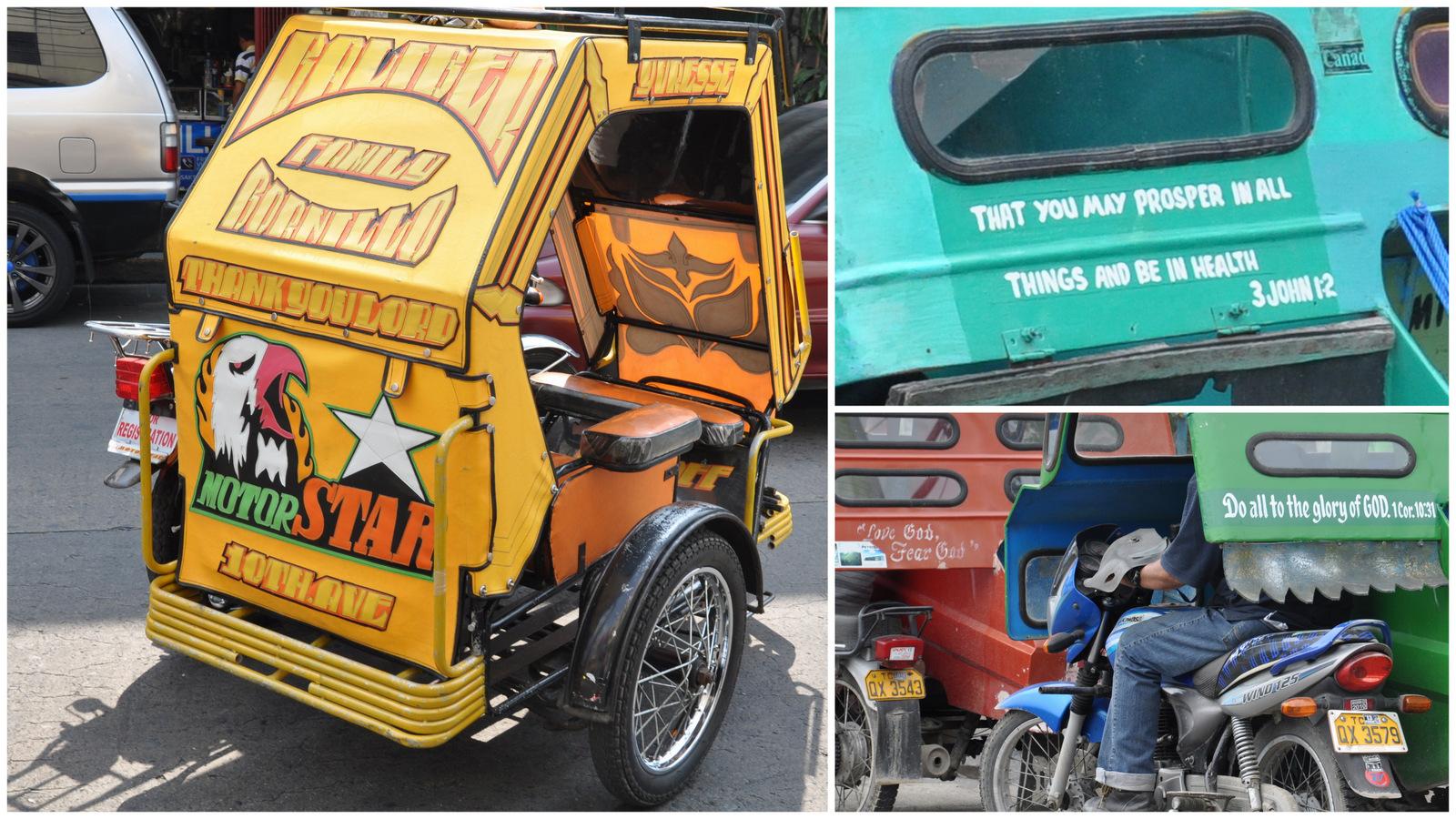 Des slogans religieux à l'arrière des motos taxis des Philippines
