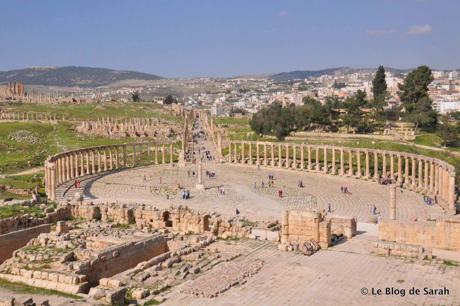 Le forum de Jerash avec sa place ovale entourée de colonnes