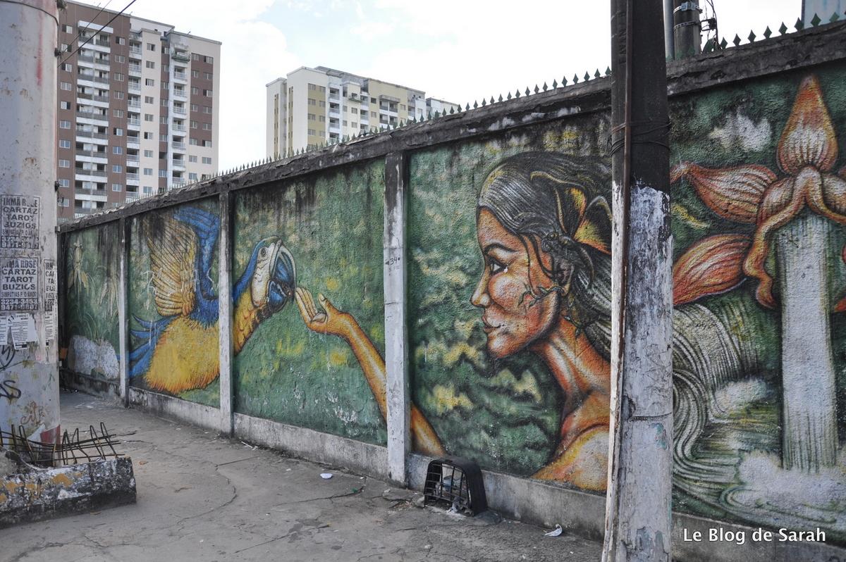 Street-art inspiré de la jungle à Manaus, rua prof Marciano Armond