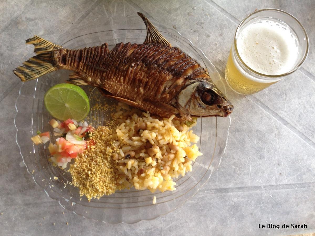 Un jaraqui, poisson de l'Amazone, avec accompagnement classique: riz, farinha de manioc et salade
