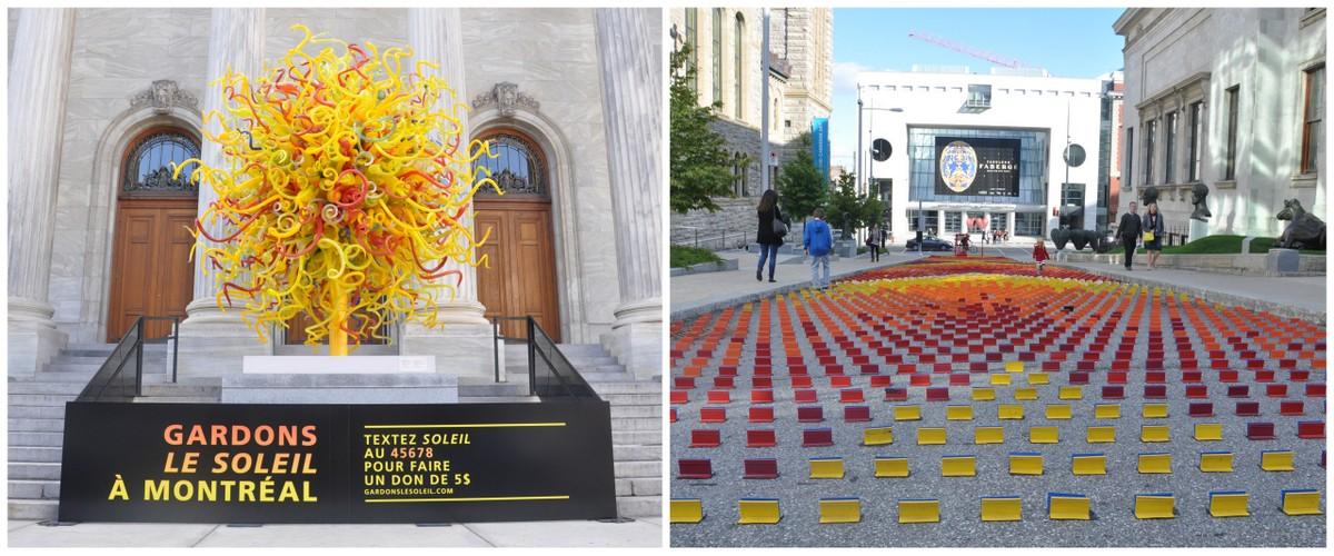 Le Soleil de Dale Chihuly et Mirage de Claude Cormier devant le musée des Beaux-Arts