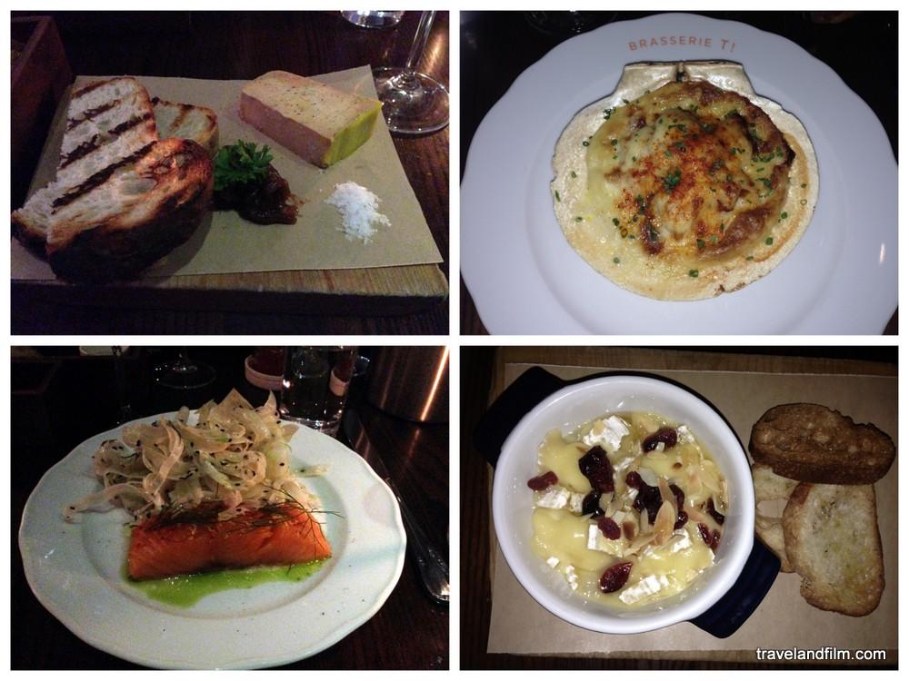 Foie gras, coquille Saint-Jacques, saumon confit et fromage coulant à la Brasserie T!