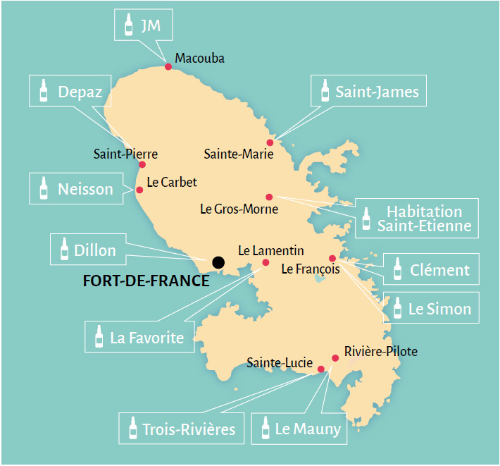 Carte des distilleries en Martinique