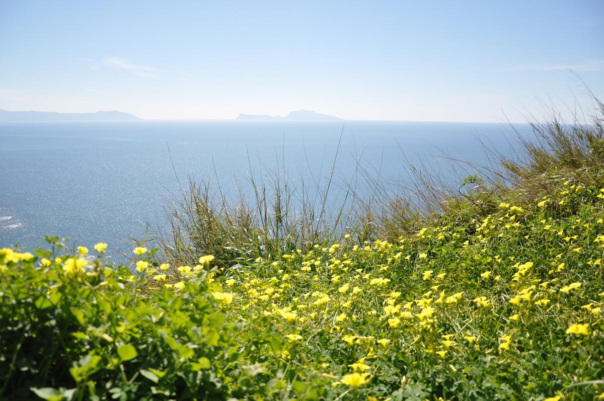 Vue sur l'île de Capri depuis le parc Virgiliano à Naples