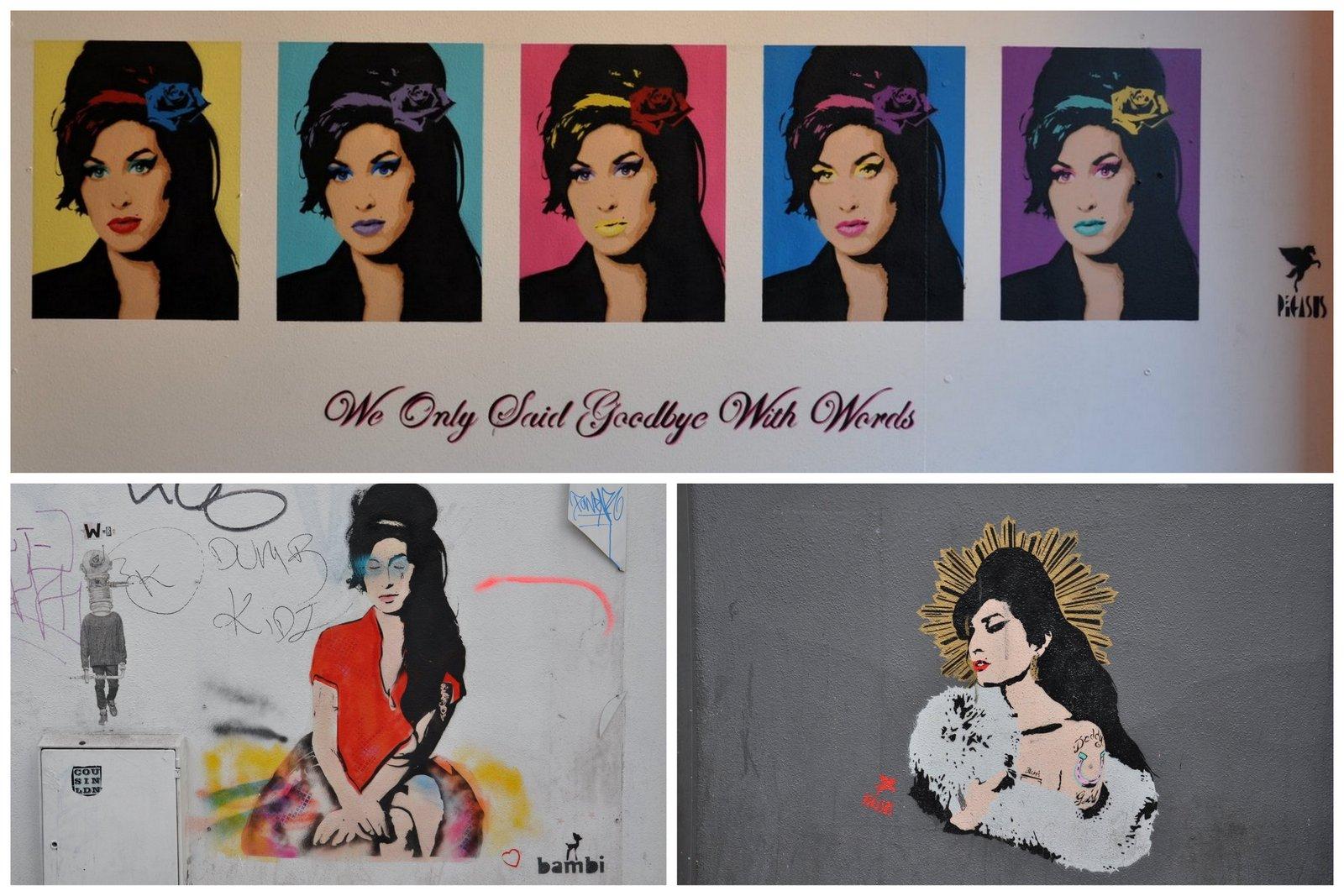 Beaucoup de fresques consacrées à Amy Whinehouse: ici par Pegasus et Bambi