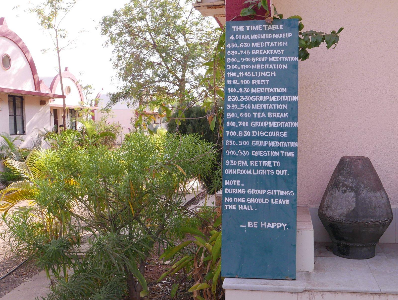Emploi du temps d'une retraite de méditation Vipassana