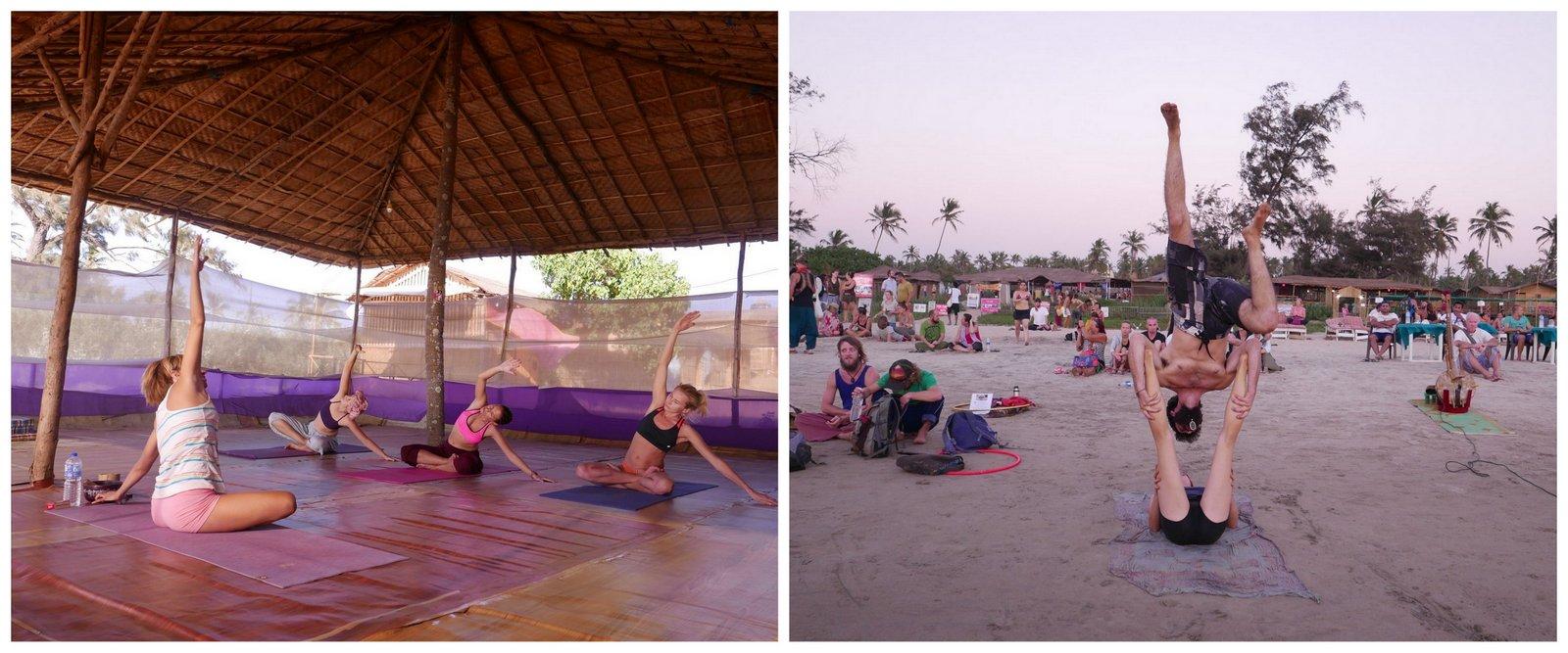Cours de yoga et accro-yoga sur la plage d'Arambol