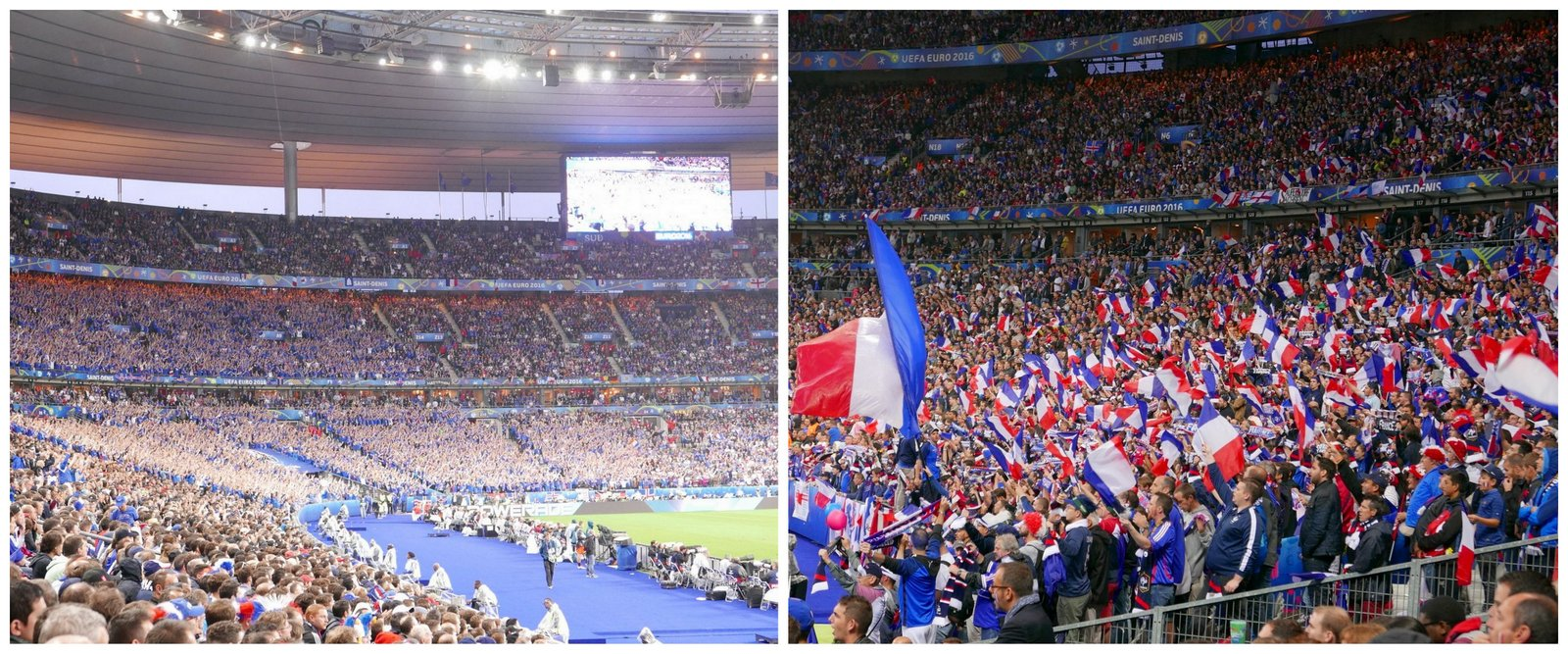 Le match dans les tribunes: clapping des supporters islandais contre drapeaux français