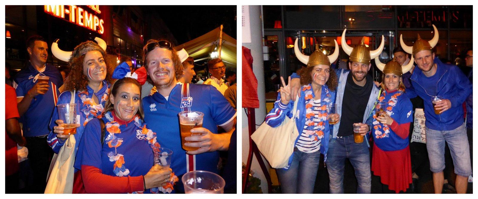 La fête avec les supporters islandais après le match