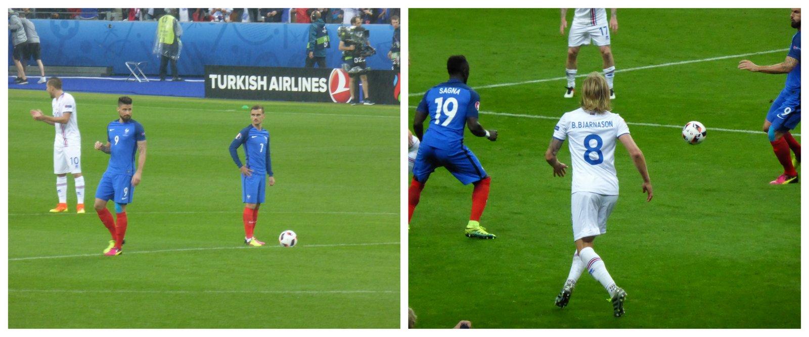 Le match des beaux mecs sur le terrain: Antoine Griezman pour les Bleus et Birkir Bjarnason pour les Islandais. Photo Travel and Film
