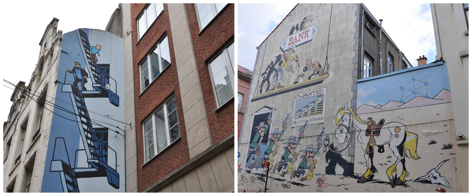 La fresque BD Tintin située rue de l'Etuve et celle sur Lucky Luke au 19 rue de la Buanderie