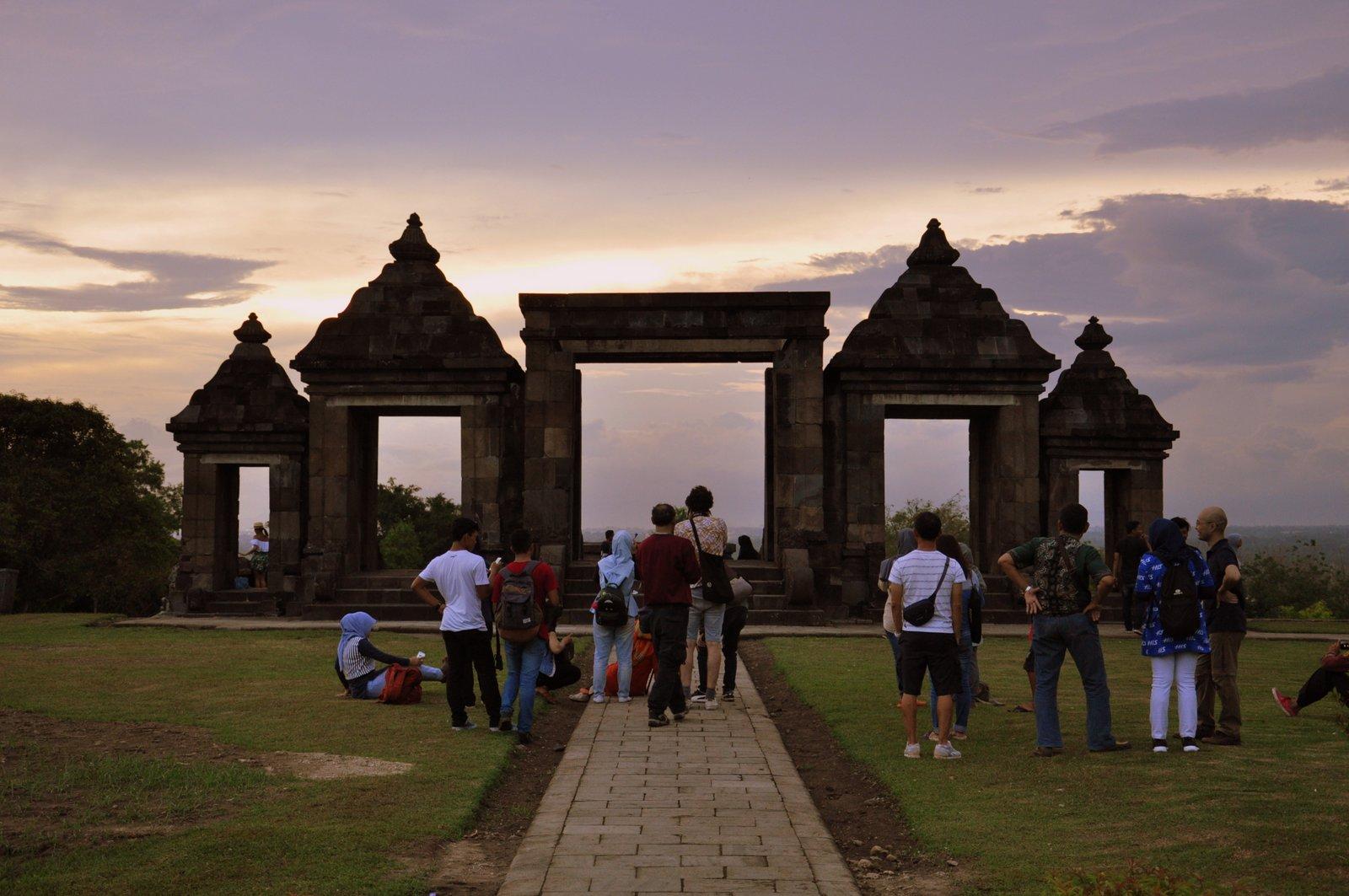 Coucher de soleil à Ratu Boko en Indonésie