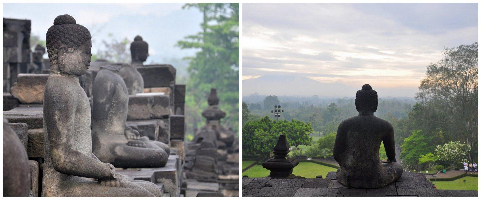 Les statues de bouddhas qui ornent les niveaux inférieur du temple de Borobudur