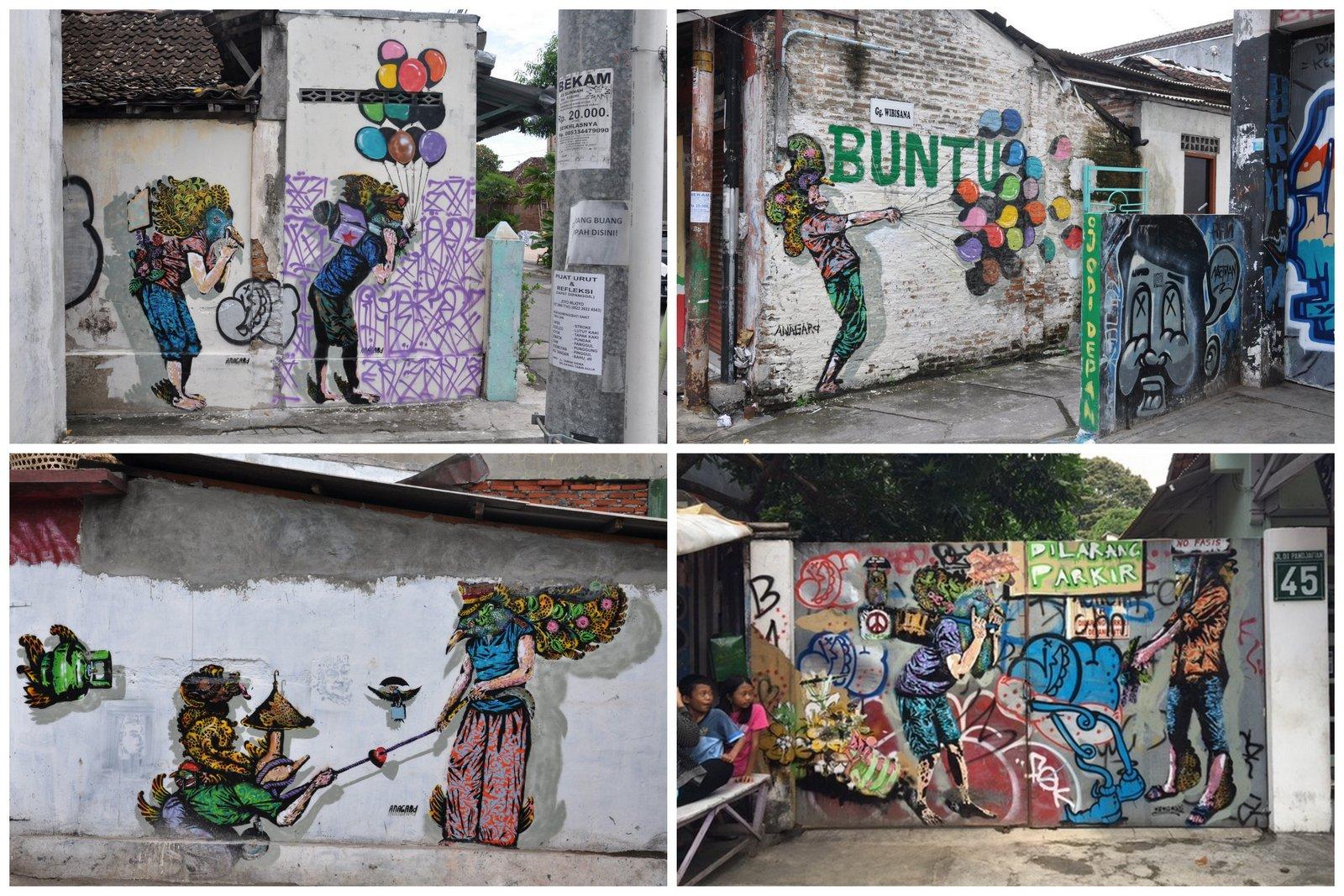 Les oeuvres de street-art réalisées par l'artiste de Yogyakarta Anagard