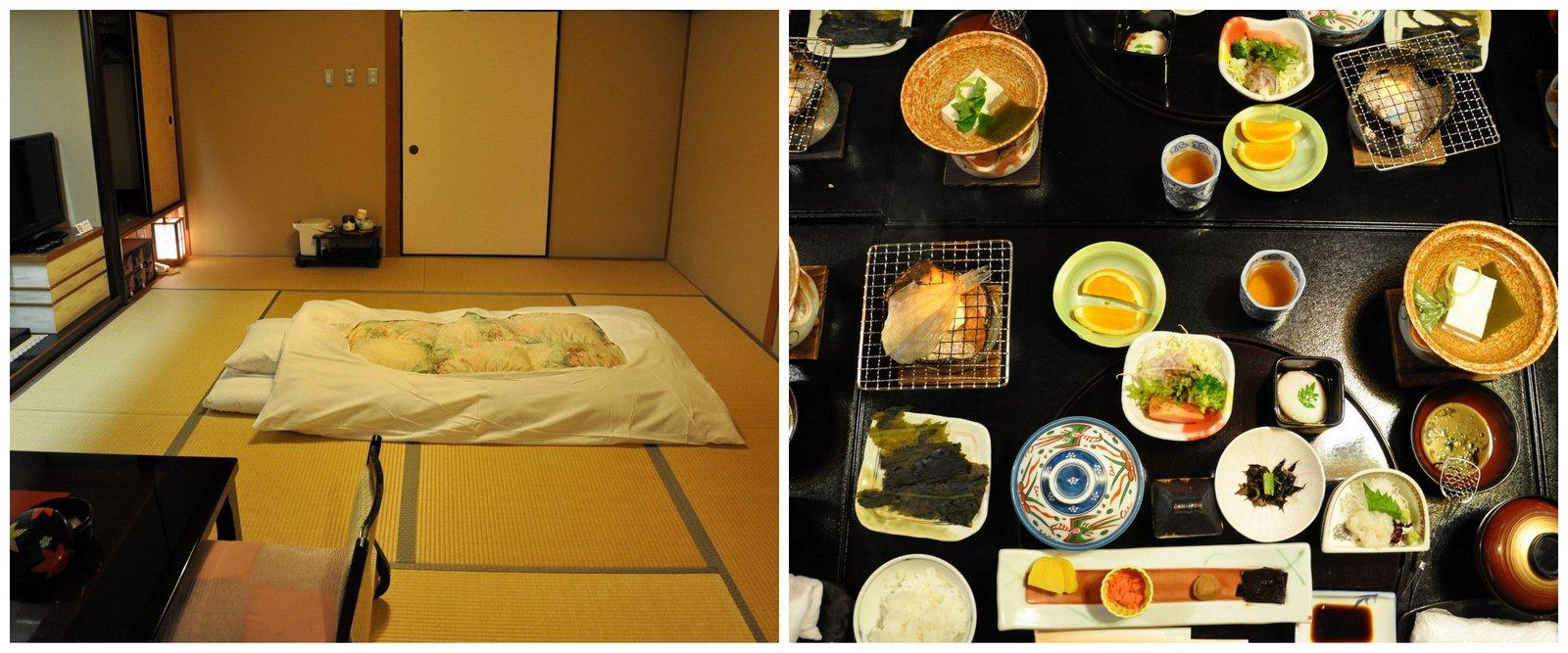 Chambre traditionnelle avec futon et repas kaiseki au ryokan Mansuirou à Misasa