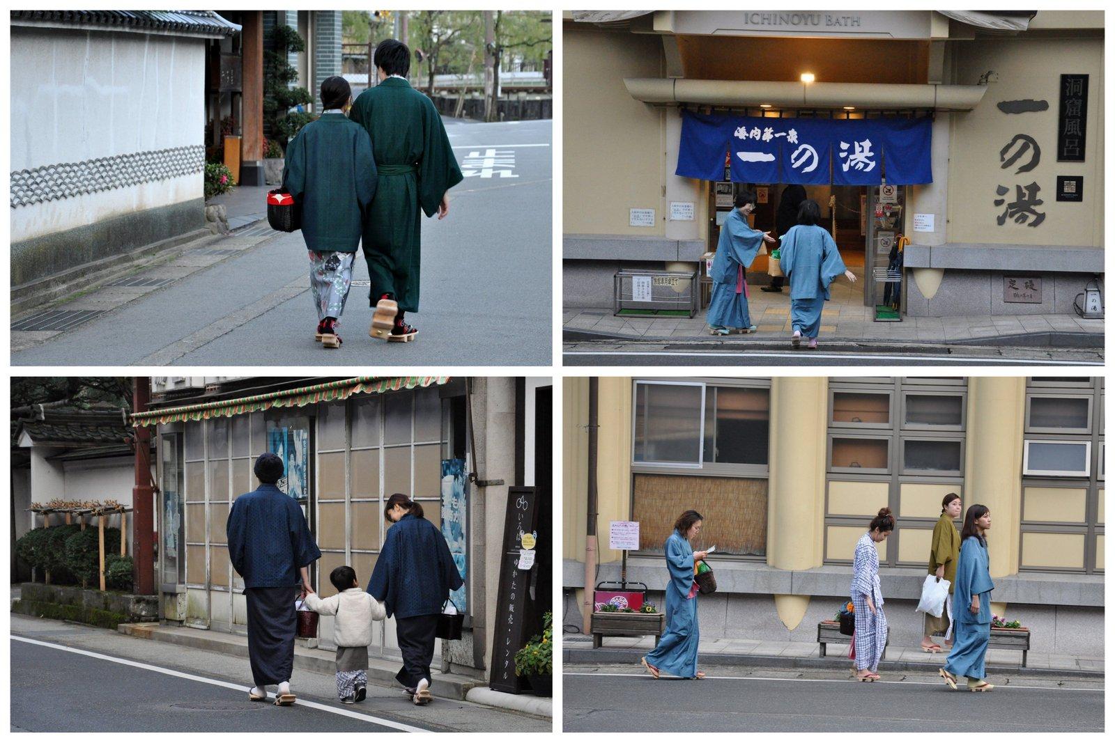Des Japonais en yukata à Kinosaki