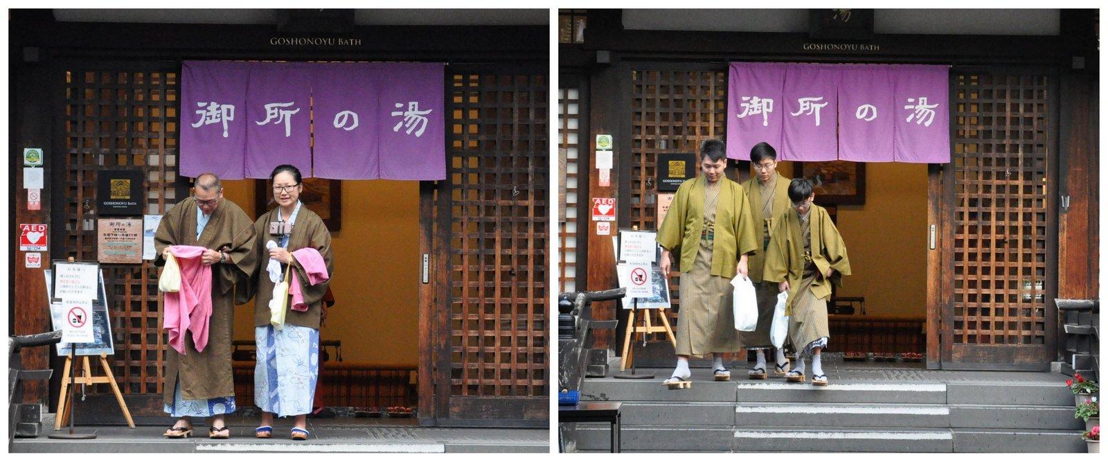 Des Japonais en yukata sortent d'un onsen à Kinosaki