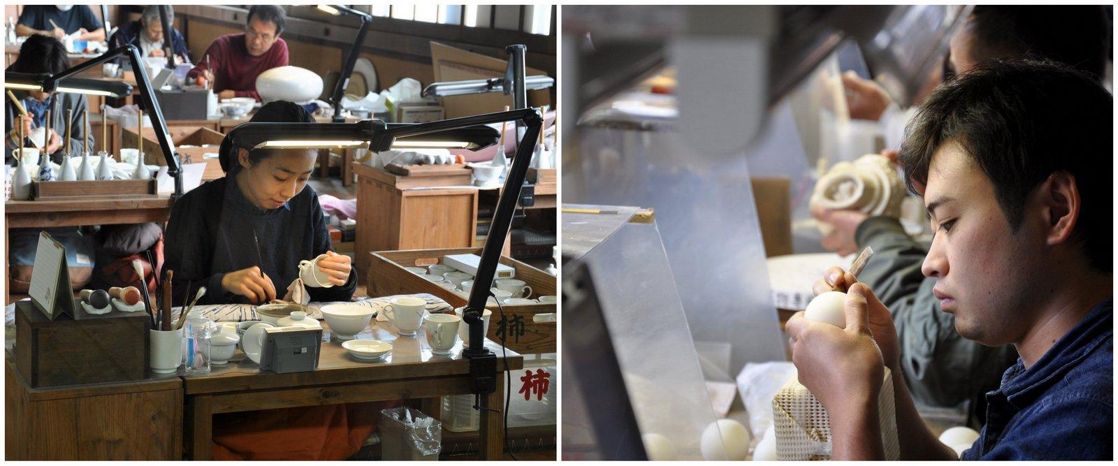 Des artisans en plein travail à la céramique d'Arita