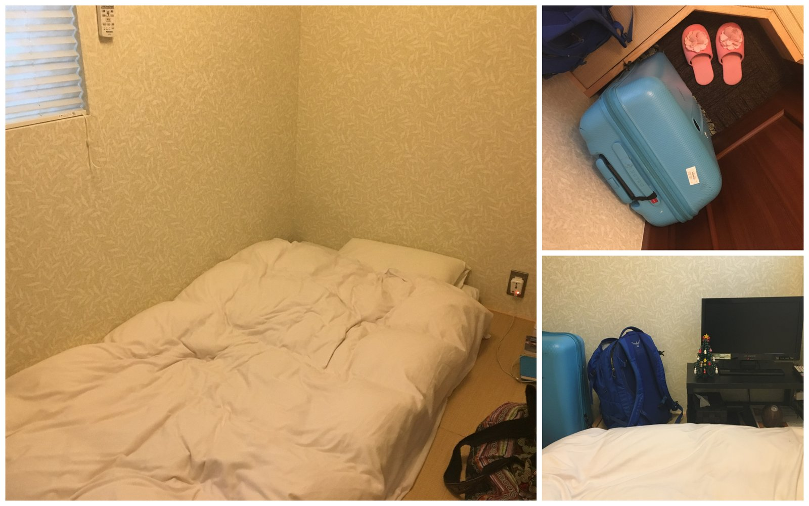 Une fois que le futon est déplié, il occupe toute la place dans la chambre