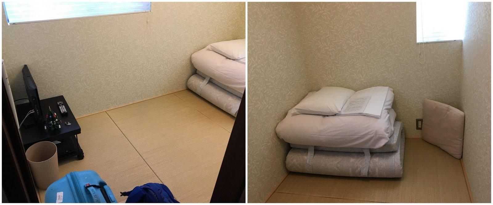Chambre privée avec futon et tatamis à la guest house Nanohana à Kyoto