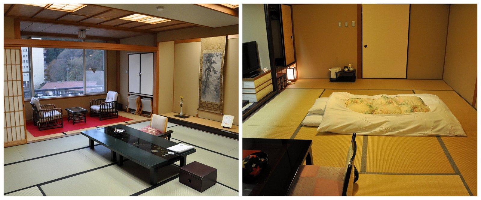 Une chambre de ryokan avec futon et tatami