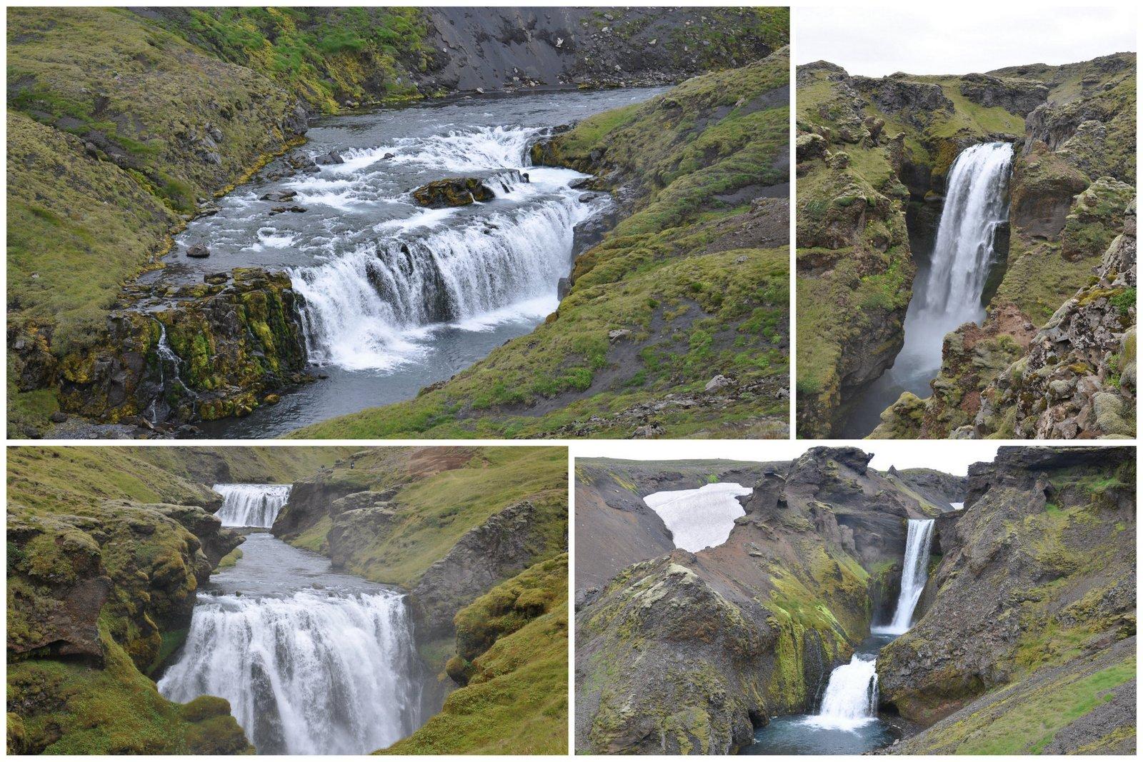 Les cascades qu'on peut découvrir sur le chemin de randonnée après Skogafoss