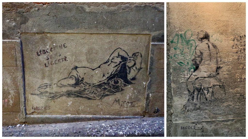 Dessins de Miss Tic à Montauban en hommage à Ingres